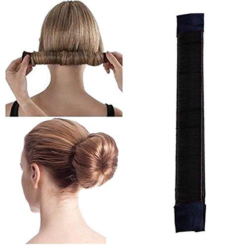 Accesorios para hacer moños de pelo, para hacer moños de pelo, mágico, para hacer manualidades, con forma de moño y rubio, ideal para mujeres y niñas (negro)