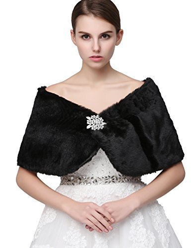 Clearbridal, Damen-Bolero aus Kunstfell, für Hochzeitskleidung, 17012 Gr. XL, schwarz