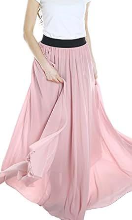 Urban GoCo Femme Vintage Maxi Jupe Mousseline Longue Plage Bohême Plissé Rétro Robe (M, Nude pink)