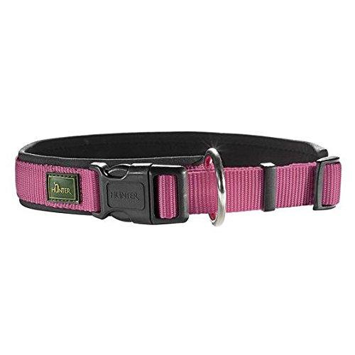 hundeinfo24.de Hunter® Halsung m. Zugentlastung Nylon Neopren himbeer/schwarz Hundehalsband Halsband Hunde Halsung Neo Style to go