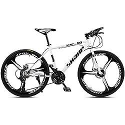 SIER Vélo de Montagne Adulte 26 Pouces Double Frein à Disque Une Roue 30 Vitesse Vitesse Hors Route vélo Hommes et Femmes,White