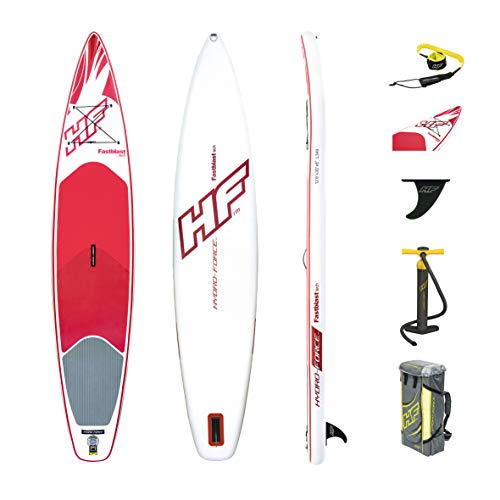 Bestway 65306 - Tabla Paddle Surf Hinchable Hydro-Force Fast Blast Tech (381 x 76 x 15 cm)- Incluye kit de reparación, inflador, y mochila deluxe
