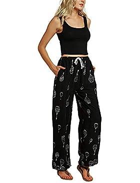 ❤️ Pantalones Harem para Mujeres Pantalones de Jogging de Boho Yoga de Cintura Media Estampados Florales Ocasionales...