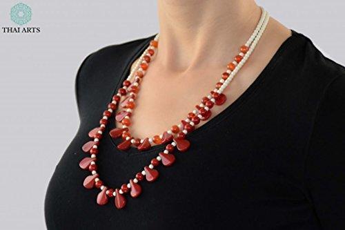 """Halskette """"Ko Pla Tin"""", Kette für Frauen (Glasschliffperlenkette aus Handarbeit), exklusiver Schmuck mit Perlen für Frauen mit Stil. Handgefertigte Perlenkette aus Thailand"""