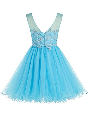 Bbonlinedress Mini Cocktail-kleider Tüll Beading Applique Party Kleider Dunkelrot