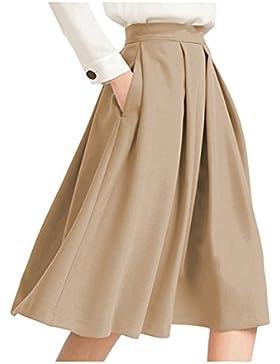 Las Mujeres Cintura Alta Falda Acampanada Con Bolsillo Plisado Falda Midi