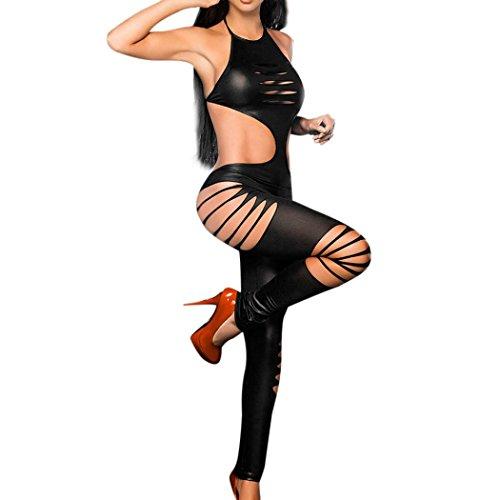 PowerFul-LOT Damen Dessous,Plot Frauen Sexy Erotik Dessous Nachtwäsche Versuchung Nightgown Unterwäsche Rückenfrei Stripper Leather Siamesischer Overall Bodysuit (Schwarz) (Sexy Für Zu Dessous Frauen öffnen-bh)