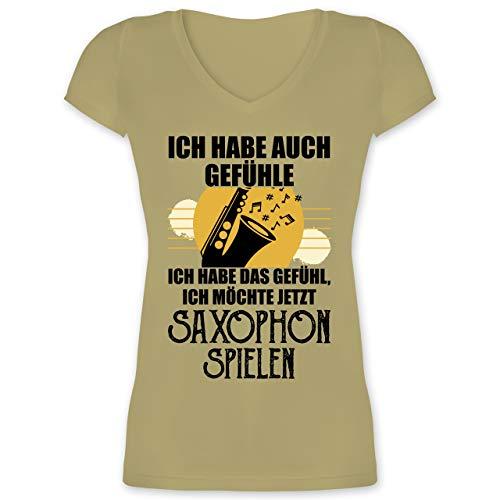 Instrumente - Ich Habe auch Gefühle Saxophon - XS - Olivgrün - XO1525 - Damen T-Shirt mit V-Ausschnitt
