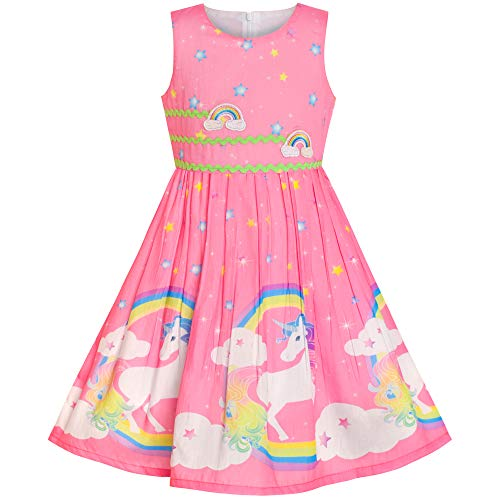 Kleid Kostüm Rosa - Mädchen Kleid Rosa Einhorn Regenbogen Sommer Trägerkleid Gr. 110