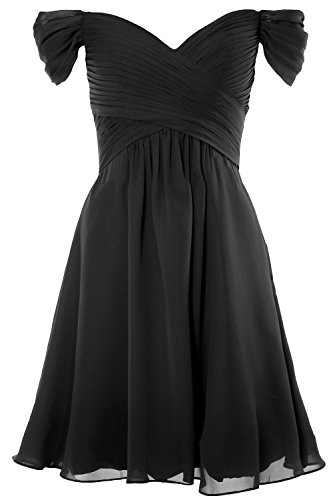 MACloth Women Off Shoulder Cocktail Dress 2018 Short Wedding Party Formal Gown Schwarz