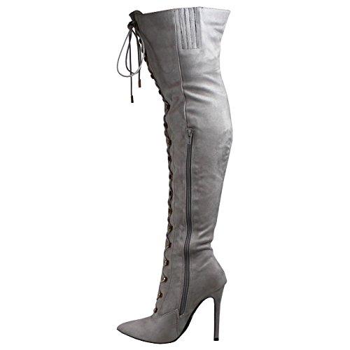 Viva Donna Allungare Lungo Moda Allacciare Coscia Alta Stilettos Vestito Tacco Alto Grigio