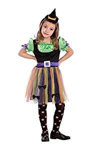 Carnival Toys-Disfraz bruja para niña unisex-child, multicolor, 104-110cm, 68733
