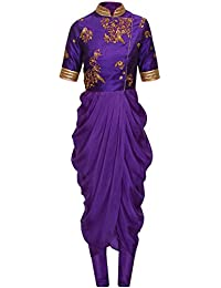 Pramukh Enterprise Designer Purple Dhoti With Top