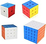 #5: Happy GiftMart 4 in 1 Rubik Cube Sticker Less High Quality One Hand Movement and Smooth Play Magic High Speed Multicolor Cube Puzzle Set Toy Stickerless Speed Cube Set (2X2)(3X3)(4X4)(5X5)