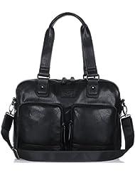 Binlion Taikes Unisex PU leather Backpack Shoulder Backpack Messenger Cross Body Bag and Unisex Canvas Backpack