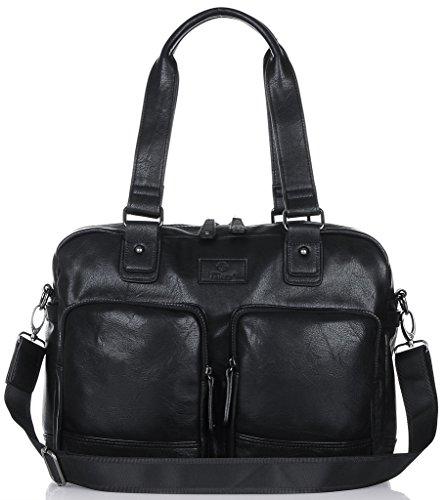 Binlion Taikes Unisex PU leather Backpack Shoulder Backpack Messenger Cross Body Bag and Unisex Canvas Backpack Black33