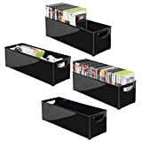 mDesign 4er-Set stapelbare DVD-Aufbewahrungsbox mit Griff – Aufbewahrungssystem mit Griff für DVDs, CDs und Videospiele – Aufbewahrungsbox Kunststoff – schwarz