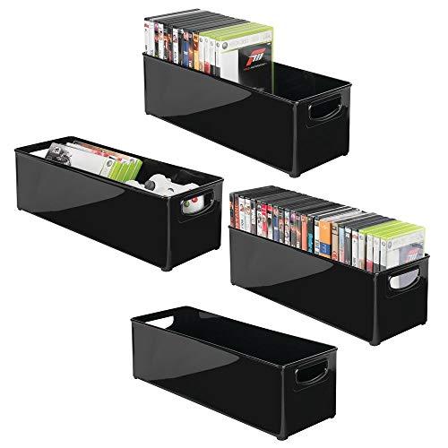 Stapelbar Dvd (mDesign 4er-Set stapelbare DVD-Aufbewahrungsbox mit Griff - Aufbewahrungssystem mit Griff für DVDs, CDs und Videospiele - Aufbewahrungsbox Kunststoff - schwarz)