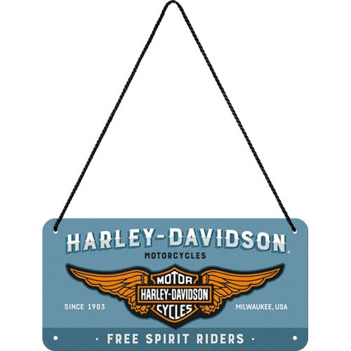 Nostalgic-Art 28023de Harley Davidson logo de Blue | Retro hängeschild | Vintage Decoración de pared | Letrero De Puerta |metall | 10x 20cm, multicolor, 10x 20x 0.1cm