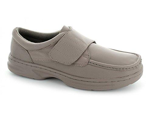 Dr Keller TEXAS Herren Leder-Schuhe, Klettverschluss, weit, Taupe Taupe