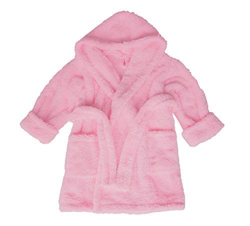 Preisvergleich Produktbild Dkaren Warmer und weicher Bademantel mit Kapuze für Jungen und Mädchen in 14 Farben (104-152) Rosa, Größe 116cm