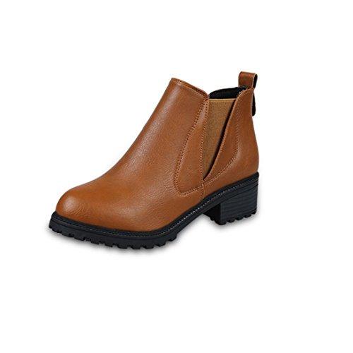 Sportliche Leder-heels (Martin Stiefel Damen Schuhe Sonnena Frauen Stiefel Low Heels Ankle Boots Plateauschuhe Herbst Winter Leder-Optik Schuhe Blockabsatz Boots Wasserdicht stiefeletten damen Flach Boots (38, Sexy Braun))