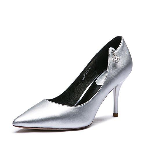 Donna argento pelle scarpe nuove acque poco profonde di perforazione in primavera/Scarpe a punta a spillo tacco alto-A Longitud del pie=22.3CM(8.8Inch)
