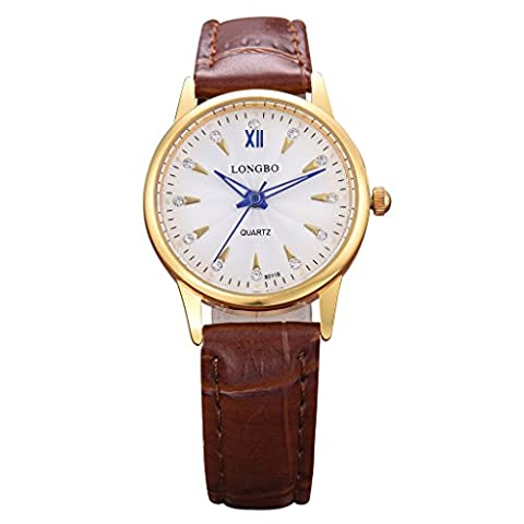 LONGBO Luxury Women's Brown Croco Leather Band Analog Quartz Business Watch Gold Case Couple Dress Watch Luminous Blue Hands & Rhinestone Crystal White Dial Wristwatch For Woman