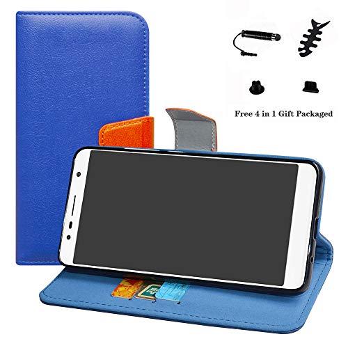 LFDZ Alcatel 3c Hülle, [Standfunktion] [Kartenfächern] PU-Leder Schutzhülle Brieftasche Handyhülle für Alcatel 3c Smartphone (mit 4in1 Geschenk Verpackt),Deep Blue