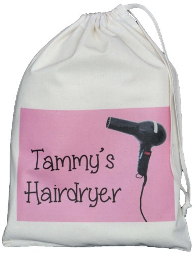 hairdryer small storage bag - 41A1MZXUoiL - Personalised – Hairdryer Small Storage Bag – PINK DESIGN – Small Natural Cotton Drawstring Bag – SUPPLIED EMPTY