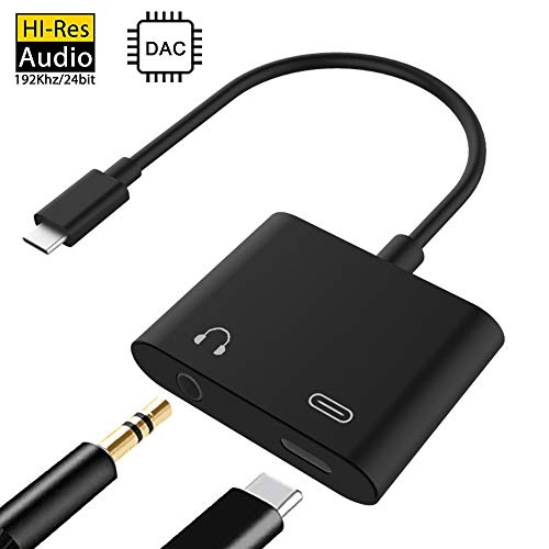 USB C Audio Adapter,2 in 1 Type-c to 3.5mm Headphone Jack with USB-C Charging Port,Support Phone Call and 2A Fast Charging,Compatible with Google Pixel 2/3 XL,Essential PH-1,MacBook Pro and More