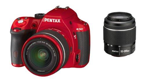 Pentax-K-50-Fotocamera-e-Obiettivo-DA-L-18-55-WR-e-DA-L-50-200mm-WR-Sensore-CMOS-APS-C-da-1649-Megapixel-Display-LCD-da-3-Video-Full-HD-Rosso
