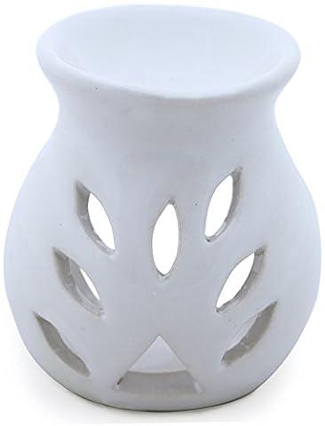 SouvNear 9,1 cm Fait à la Main Blanc Céramique à Essentiel Huile Diffuseur / Huile Brûleur / Votive Porte-Bougie / Lumière Photophore Lanterne - Aromathérapie Cadeaux de