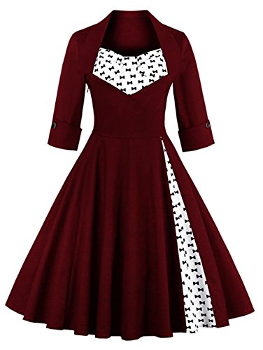IMUYI Femme Vintage 1950 manches demi Rockabilly Balançoire Party Robe WineRedFloral1