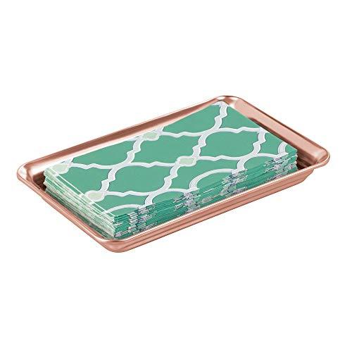 MetroDecor mDesign Tablett für Kosmetik Aufbewahrung aus Metall – stilvolles Kosmetiktablett für Lotion, Kosmetik und Accessoires – handliches Ablagesystem für den Waschtisch im Badezimmer – rotgold