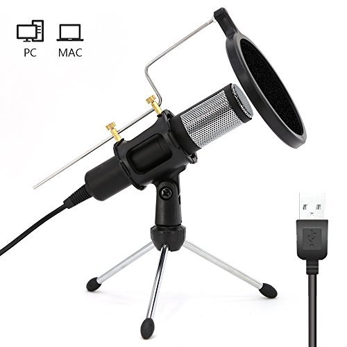 Home Studio USB Condenser Microphone with Mic Stand dual-layer acoustic popfilter for PC Recording,Live,Podcasting, Online Chatting, Mini Desktop MIC Stand  available at amazon for Rs.3819