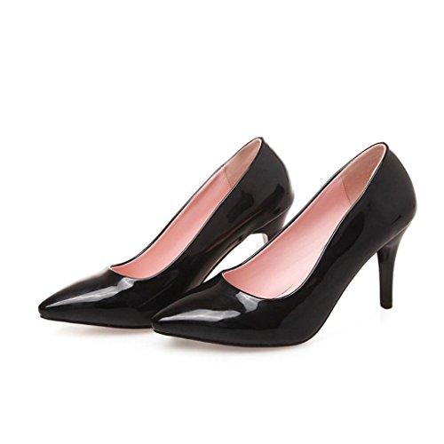 W&LMScarpe Tacchi alti appuntito Bocca poco profonda Scarpe singole Basso per aiutare le scarpe Scarpe da donna posto di lavoro Sala da ballo Black