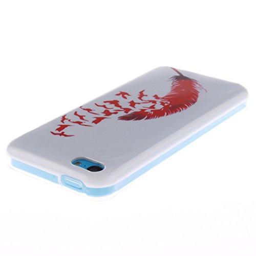 """SsHhUu iPhone 5c Coque, Personality Animal Ultra Slim Doux TPU Flexible Durable Gel Silicone Protecteur Rear Skin Painting Art Étui Housse Case Cover Pour Apple iPhone 5c 4.0"""" Plume élégante"""