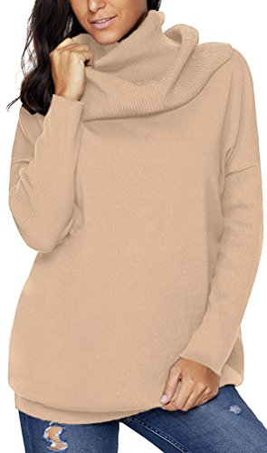 TDOLAH Damen Unifarbe Rollkragen Langarm Umstandspullover Winter Wasserfallausschnitt Strickpullover (XL (Brustumfang: 131cm), Wein)