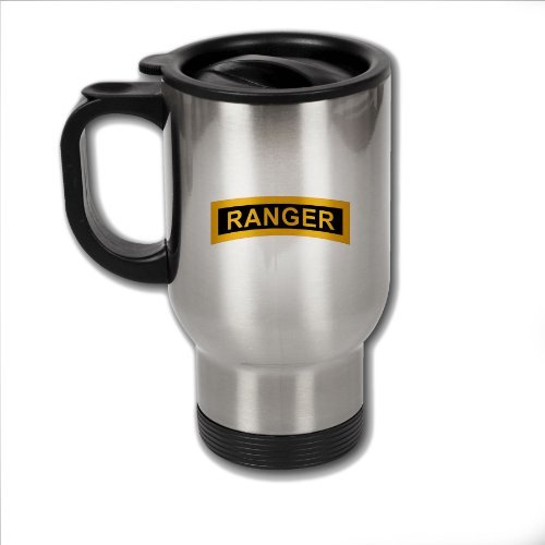 Stainless Steel Coffee Mug with U.S. Army Rangers (Airborne) tab
