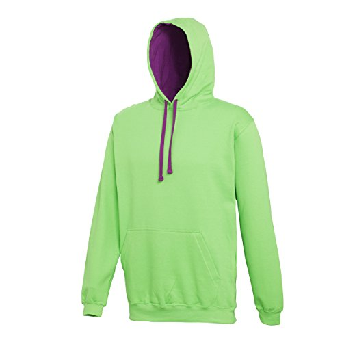 Varsity hoodie Lime Green-Magenta Magic AWDis Hoods Streetwear Felpa Cappuccio Uomo Lime Green-Magenta Magic