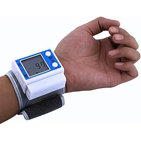 Esfigmomanómetro electrónico Monitor digital automático de la presión arterial de la muñeca del monitor LCD Frecuencia del ritmo cardíaco Medidor del pulso Medida Detect