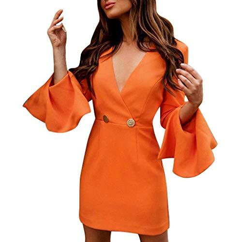 Damen Minikleid Kleider Langarm Tief V Ausschnitt Wickelkleid Swing-Kleid Abendkleid Langarm Kniekleid Laternenhülse Partykleid Herbstkleid Ballkleid -