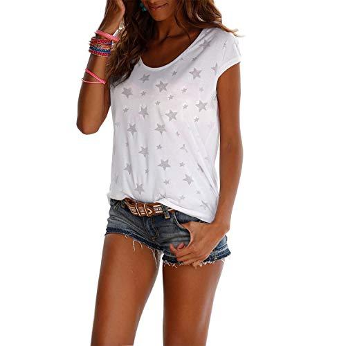 WinCret Damen T-Shirt Kurzarmshirt mit Rundhalsausschnitt Alle Sterne Druck Bluse Basic Tops