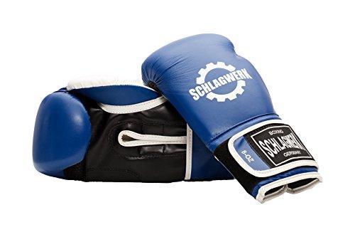 SCHLAGWERK Boxhandschuhe Jugend und Kinder aus Skin-Tex Leder, 8 Unzen (Blau/Weiss) mit Klettverschluss