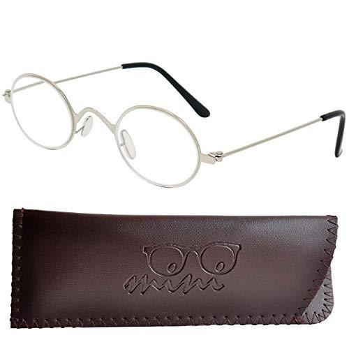 Lesebrille Professorenbrille mit runden ovalen Gläsern - mit GRATIS Etui | Vintage Retro Stil Edelstahl Rahmen (Silber) | Lesehilfe für Damen und Herren | +1.5 Dioptrien
