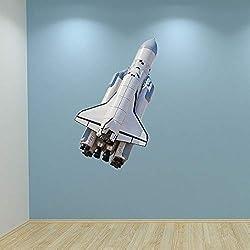 60 Second Makeover Limited - Wandaufkleber Grafik Abziehbild Jungen Schlafzimmer Dekor Raketen Shuttle in Voller Farbe - Medium