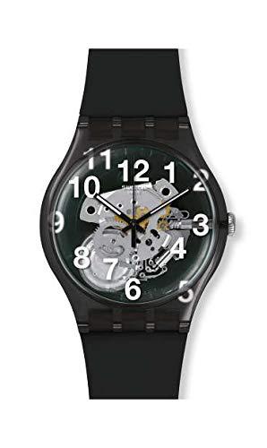 Swatch Unisex Erwachsene Analog Quarz Uhr mit Silikon Armband SUOK135