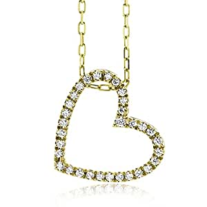 Miore Diamond Necklace, 18ct Yellow Gold, Diamond Heart Pendant, 0.16 carat Diamond Weight, 42cm Chain, M0836BY