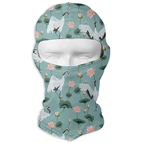 keiwiornb Balaclava Windproof Ski Mask-Japanese Cranes and Lotuses Outdoor Cycling Ski Motorcycle Balaclava Mask Sunscreen Hat Windproof Cap